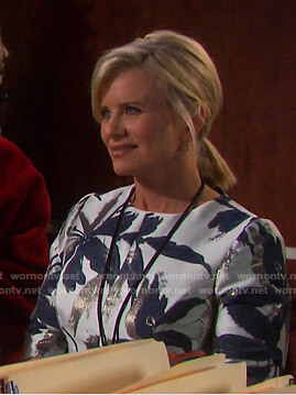Kayla's metallic leaf print dress on Days of our Lives