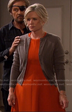Kayla's orange dress and crew neck cardigan on Days of our Lives