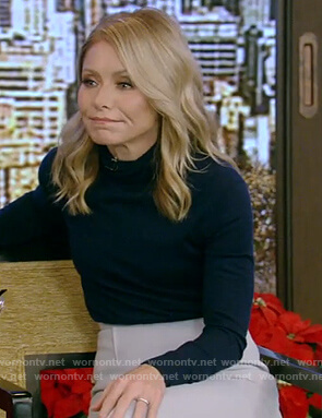 Kelly's blue turtleneck sweater and skirt on Live with Kelly and Ryan