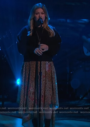 Kelly's patchwork asymmetric skirt on The Kelly Clarkson Show