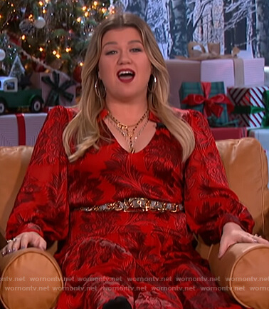 Kelly's red floral tie waist maxi dress on The Kelly Clarkson Show