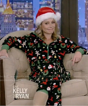 Kelly's cristmas onesie on Live with Kelly and Ryan