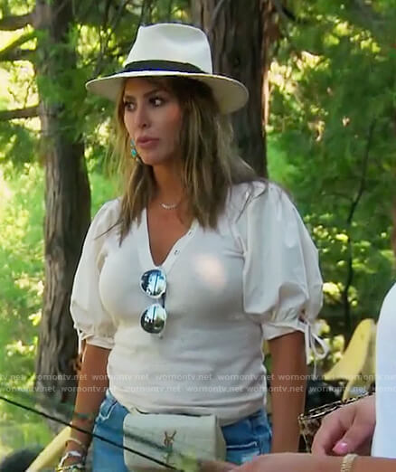 Kelly's white tie sleeve top on The Real Housewives of Orange County