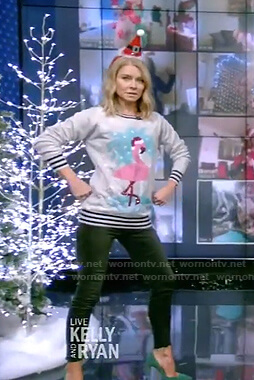 Kelly's grey sequin flamingo sweater on Live with Kelly and Ryan