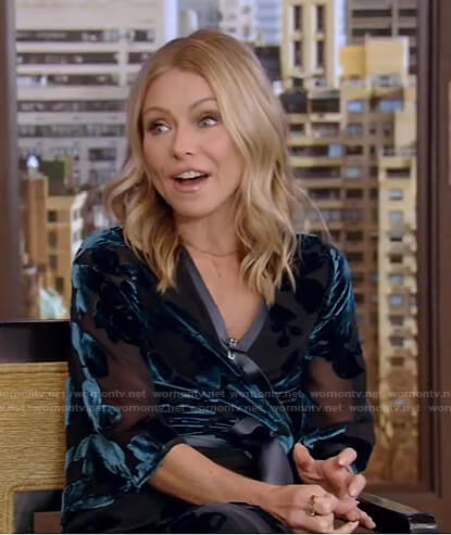 Kelly's blue velvet trim wrap dress on Live with Kelly and Ryan