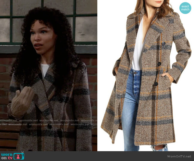 Plaid Double Breasted Coat by Kendall + Kylie worn by Portia Robinson (Brook Kerr) on General Hospital