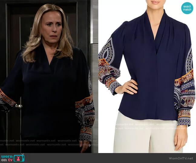 Keely Embroidered Silk Blouse by Kobi Halperin worn by Laura Collins (Genie Francis) on General Hospital