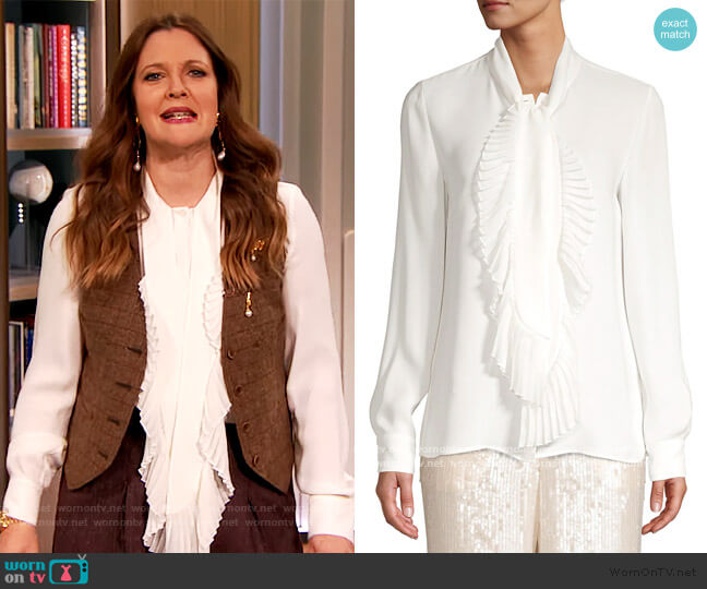 Bates Pleated Neckline Silk Blouse by Lafayette 148 New York worn by Drew Barrymore  on The Drew Barrymore Show