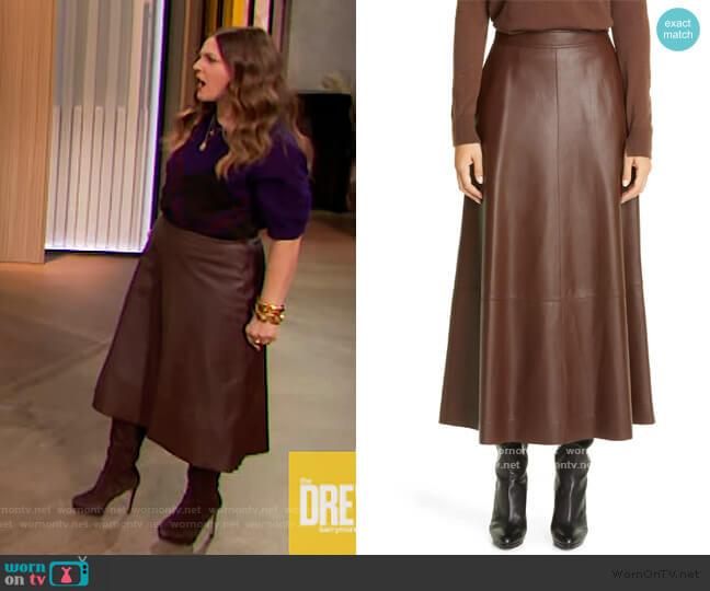 Sumner Plonge Leather Midi Skirt by Lafayette 148 worn by Drew Barrymore  on The Drew Barrymore Show