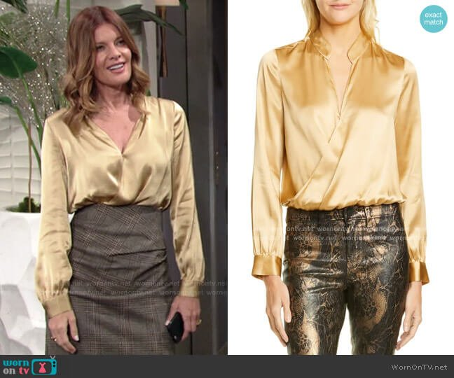 Marcella Silk Charmeuse Bodysuit by L'Agence worn by Phyllis Summers (Michelle Stafford) on The Young & the Restless