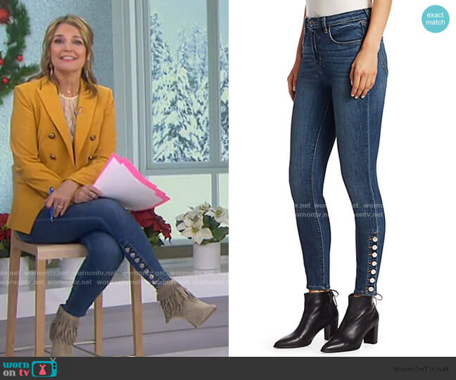 Piper High-Rise Button-Hem Skinny Jeans by L'Agence worn by Savannah Guthrie  on Today