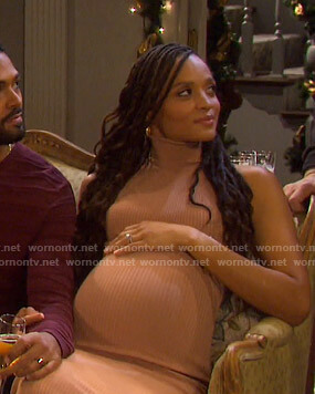 Lani's beige turtleneck ribbed dress on Days of our Lives