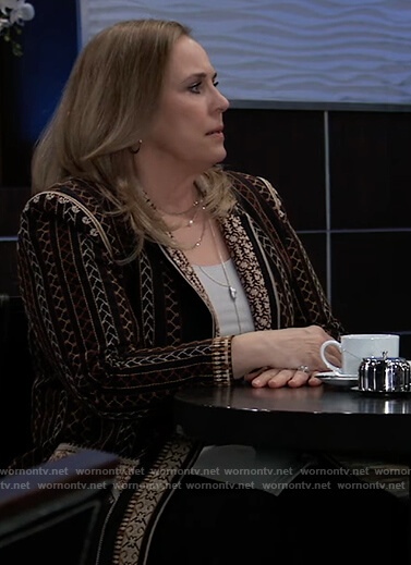 Laura's printed blazer on General Hospital