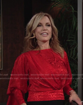 Lauren's red jacquard draped top on The Young and the Restless