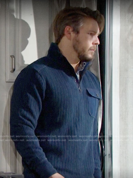 Liam's blue zip neck sweater on The Bold and the Beautiful