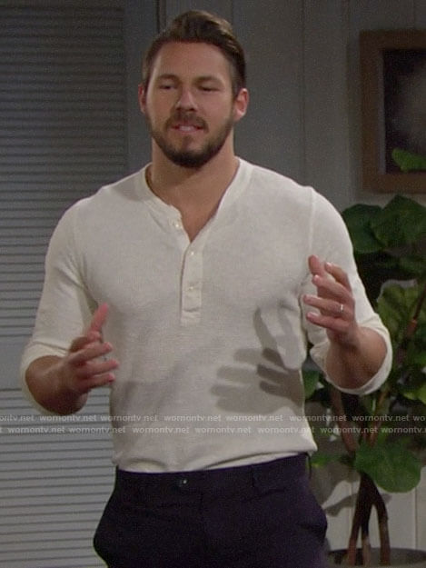 Liam's off white henley tee on The Bold and the Beautiful