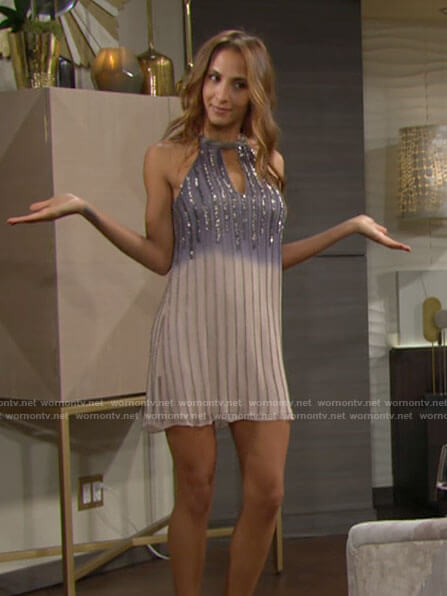 Lily's beaded halter dress on The Young and the Restless