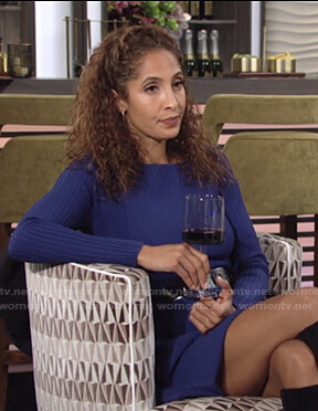 Lily's blue ribbed long sleeve mini dress on The Young and the Restless