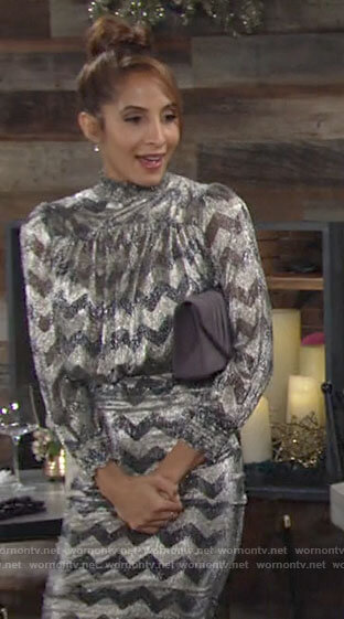 Lily's metallic zig zag dress on The Young and the Restless