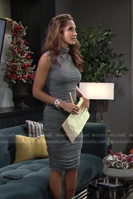 Lily's grey ruched turtleneck dress on The Young and the Restless