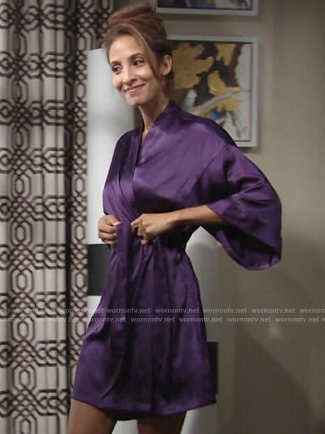 Lily's purple satin robe on The Young and the Restless