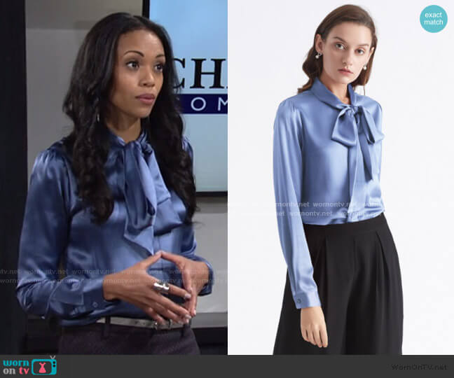Bow-tie Neck Silk Blouse by Lily Silk worn by Amanda Sinclair (Mishael Morgan) on The Young & the Restless