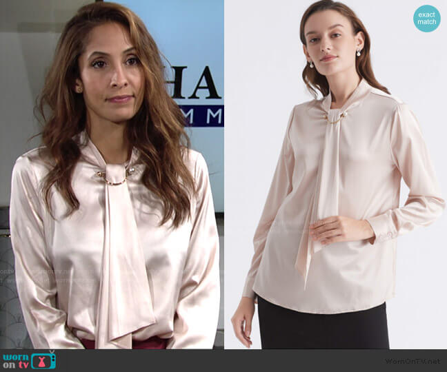 Feminine Stand Collar Blouse by Lily Silk worn by Lily Winters (Christel Khalil) on The Young & the Restless
