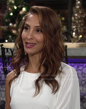 Lily's white one-shoulder draped dress on The Young and the Restless