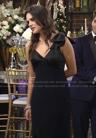 Lola's black and navy bow-shoulder gown on The Young and the Restless