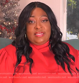 Loni's red satin mock neck dress on The Real