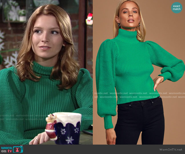 Ribbed Balloon Sleeve Turtleneck Sweater by Lulus worn by Jordan (Madison Thompson) on The Young & the Restless