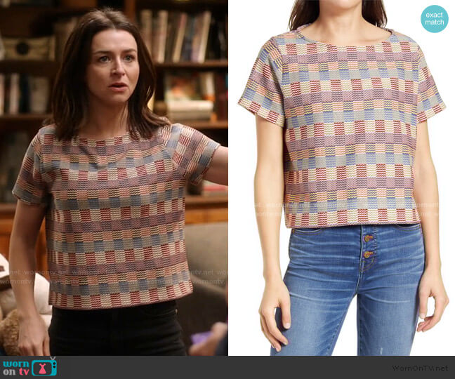 Checked Jacquard Setlist Boxy Tee by Madewell worn by Amelia Shepherd (Caterina Scorsone) on Greys Anatomy