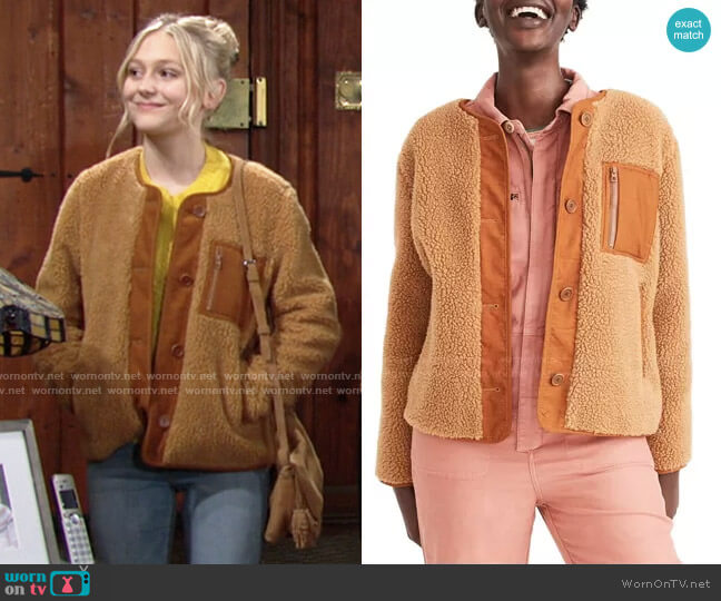 Faux Shearling Chestnut Jacket by Madewell worn by Faith Newman (Alyvia Alyn Lind) on The Young & the Restless