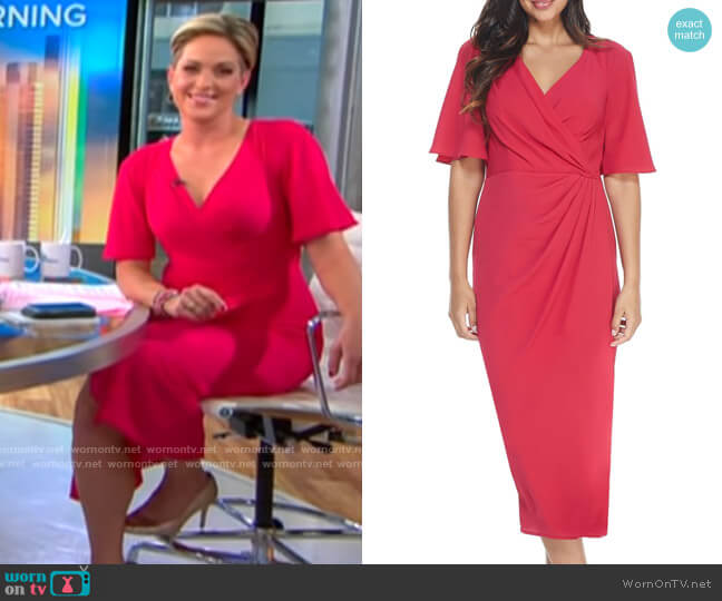 Maggy London Flutter Sleeve Faux Wrap Midi Dress worn by Jamie Yuccas  on CBS This Morning