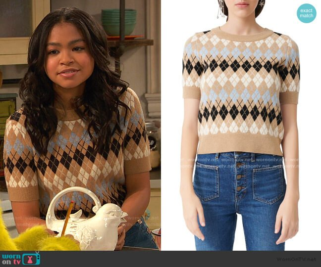 Short Sleeve Wool Blend Argyle Sweater by Maje worn by Nia Baxter (Navia Robinson) on Ravens Home