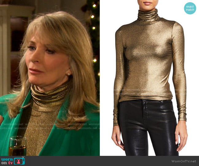 Metallic Turtleneck Long-Sleeve Tee by Majestic worn by Marlena Evans (Deidre Hall) on Days of our Lives