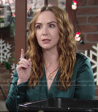 Mariah's green satin wrap top on The Young and the Restless