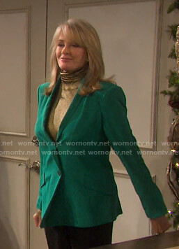 Marlena's metallic turtleneck top and green blazer on Days of our Lives