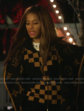 Mary's checkerboard zip jacket and hooded coat on The Real Housewives of Salt Lake City