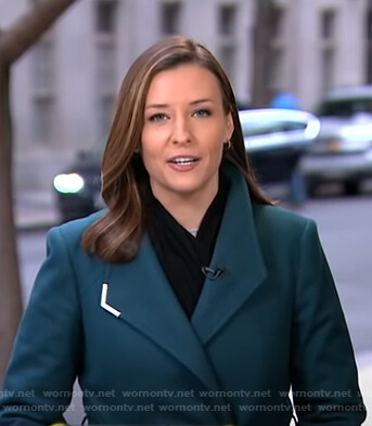 Mary's teal wrap coat on Good Morning America