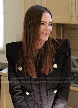 Meredith's black tweed jacket on The Real Housewives of Salt Lake City