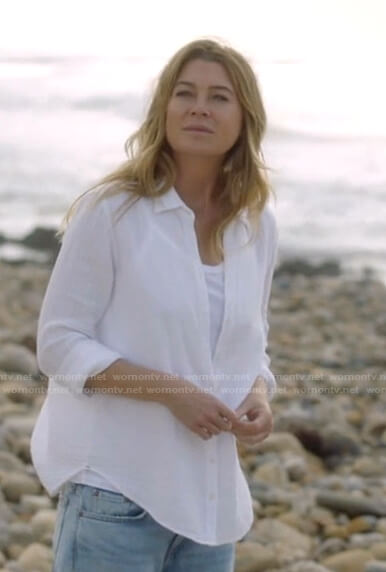Meredith's white button down cotton shirt on Greys Anatomy
