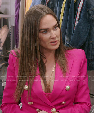 Meredith's pink double breasted blazer on The Real Housewives of Salt Lake City
