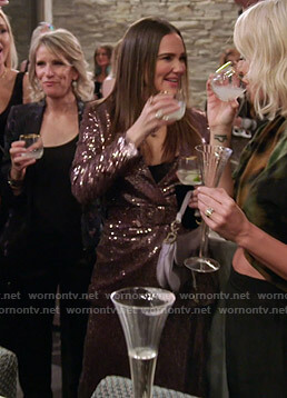 Meredith's pink sequin belted jacket and pants on The Real Housewives of Salt Lake City