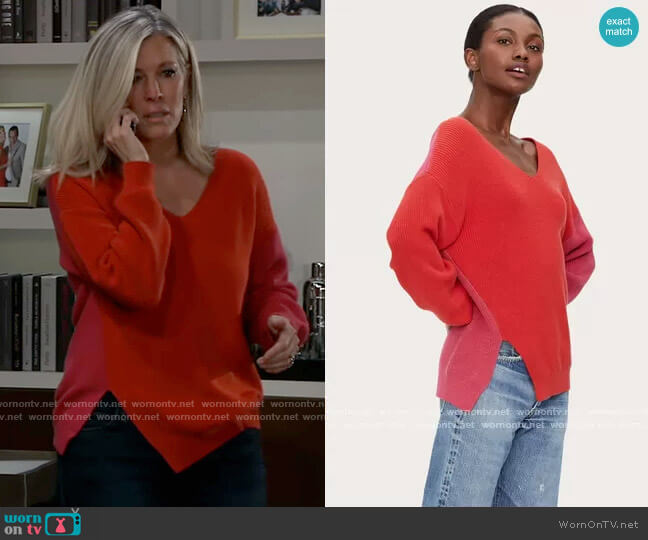 Clara Asymmetric Colorblock Sweater by Michael Stars worn by Carly Corinthos (Laura Wright) on General Hospital