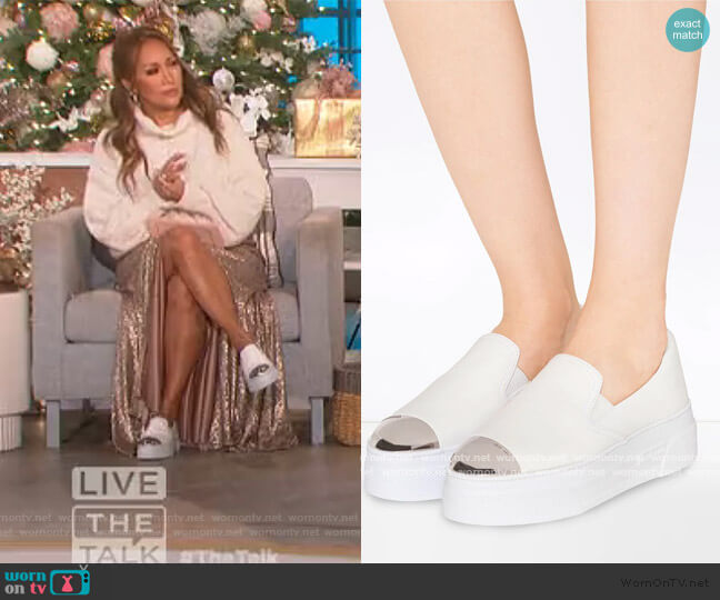 Cap-Toe Metallic Platform Slip-On Sneakers by Miu Miu worn by Carrie Inaba  on The Talk