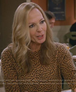 Bonnie's cheetah print sweatshirt on Mom