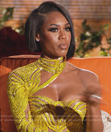 Monique's yellow embellished reunion dress on The Real Housewives of Potomac