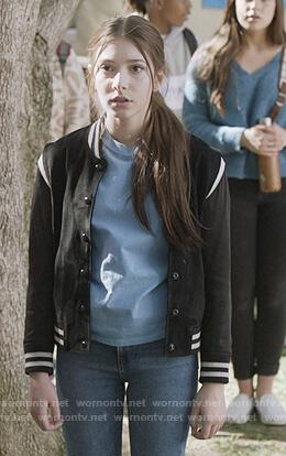 Delia's blue stripe sweater on The Unicorn
