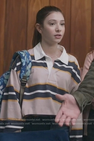 Natalie's pink stripe rugby shirt on The Unicorn